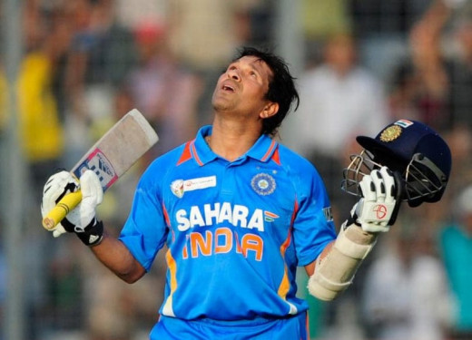 Sachin Tendulkar while scoring 100th international century