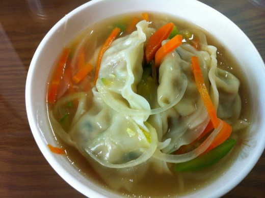 Delicious Homemade Dumpling Prawn Soup for breakfasts or lunch