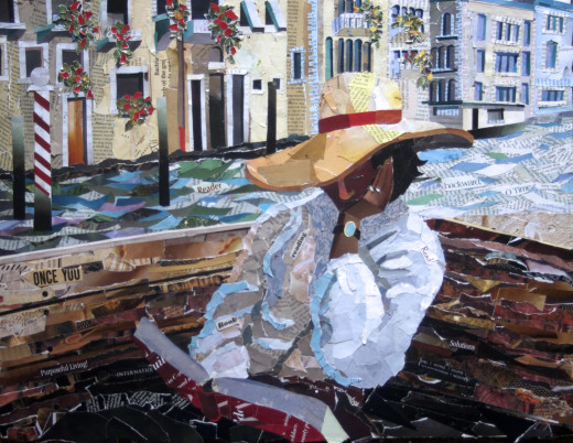 Collage of a woman reading