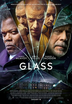 The promotional and theatrical release movie poster for the movie, Glass.