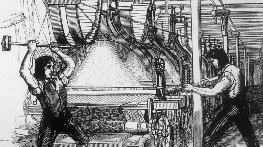 The smashing of machines may be most famous in England, as shown here in this illustration of the Luddites, but it happened in France too.