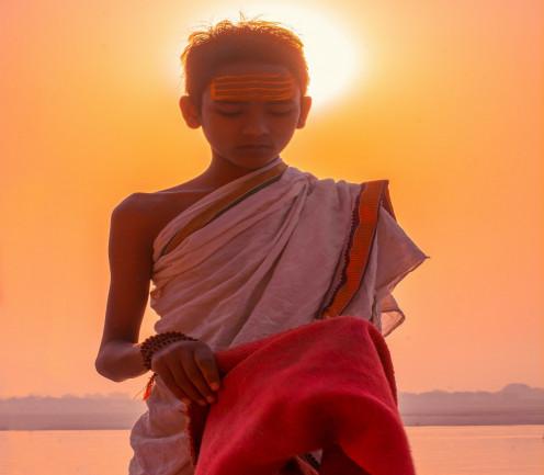 Indian child as a brahmachari.