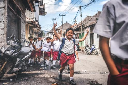 Indian school children going to school.