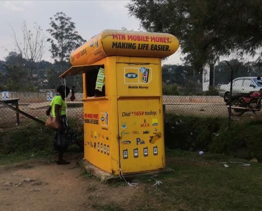 An MTN mobile money booth in Fort portal Uganda