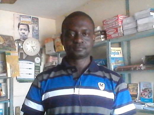 Olusegun in his Business store, in Ilorin, Nigeria