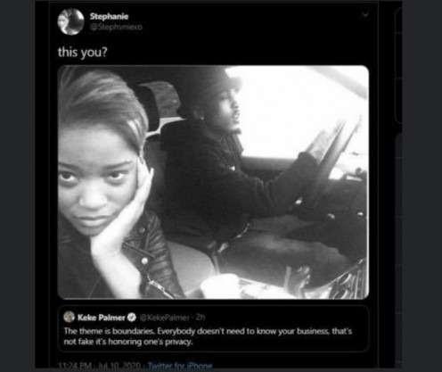 A fan tweets a picture of Keke and Alsina together in regards to her original tweet about boundaries and privacy.