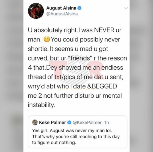 August lashes out at Keke for even saying anything about him on Twitter.