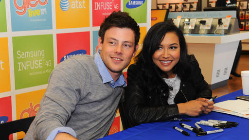 Corey Monteith and Naya Rivera at a promotional event for their TV show 'Glee'