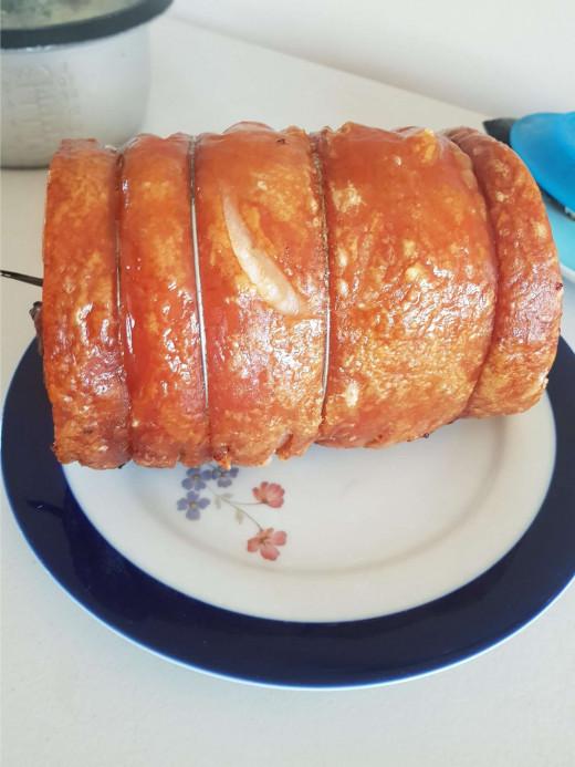 See how crispy the pork skin is!