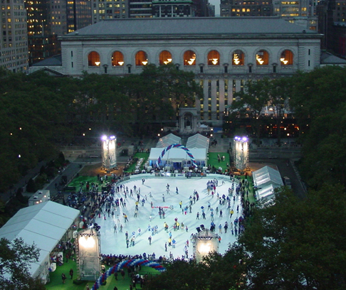 The ice-skating rink in Bryant Park, New York City