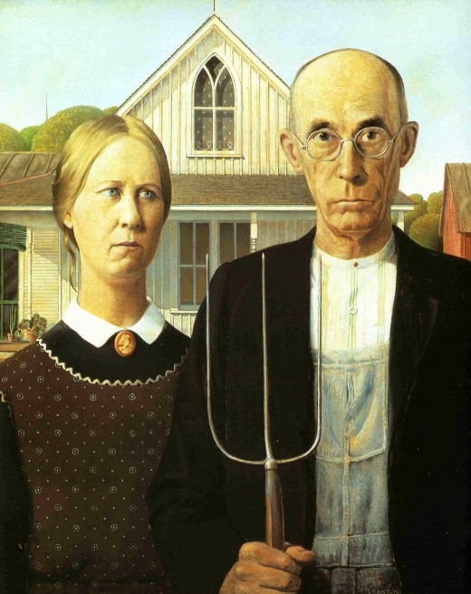 """AMERICAN GOTHIC"" BY GRANT WOOD 1930"