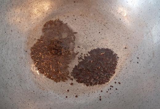 In a pan or pot, heat 1-2 teaspoons of cooking oil. Splutter 1/2 teaspoon of mustard seeds and 1/2 teaspoon cumin seeds.
