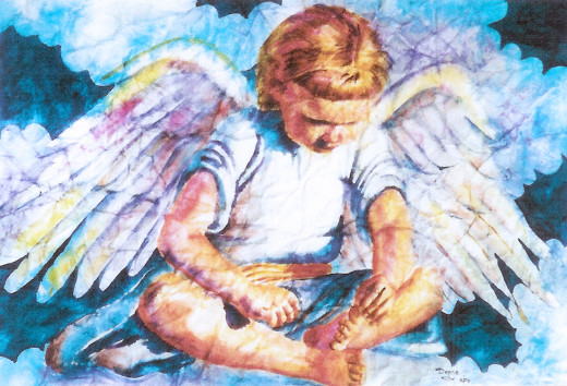 Darling Angel in watercolor by Denise McGill