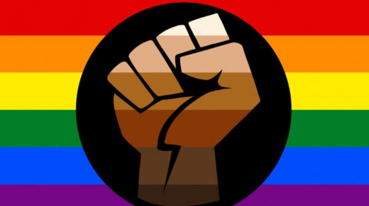 The Black Lives Matter Fist centered in the Pride flag illustrates the new found sense of unity for human rights
