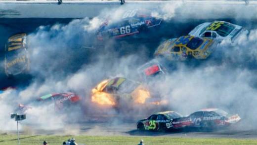 CAR MISHAP AT A RACE