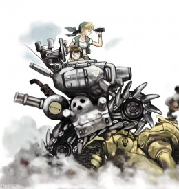Eri and Fio riding in a Metal Slug.