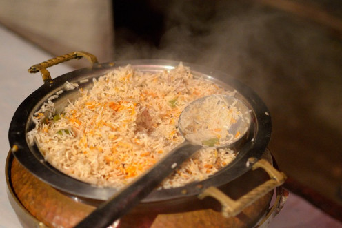 Plain Pulao can be served with any Vegetarian or Non-Vegetarian Curries