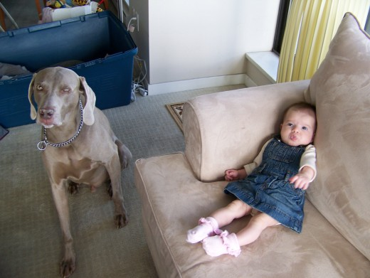 Titan and our first child, Caroline, 2011.