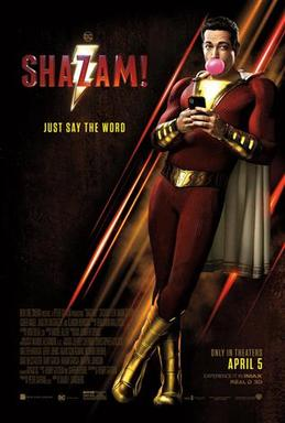 The promotional and theatrical release poster for the 2019 movie Shazam!