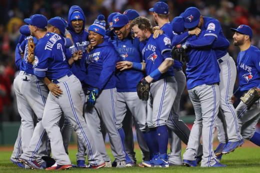 Blue Jays celebrating a victory.