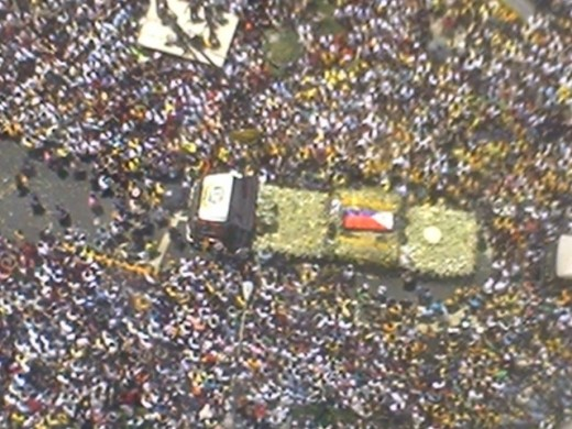 The marathon procession of Cory Aquino that was greeted with huge mourning supporters.
