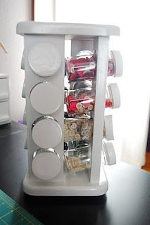 A spice rack is another alternative to organizing your buttons
