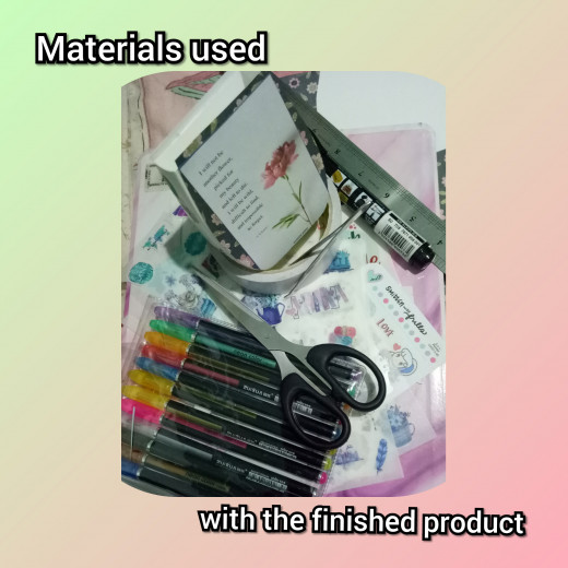 Other materials used to complete the project: pair of scissors, 2-sided adhesive, stickers or any design of your choice