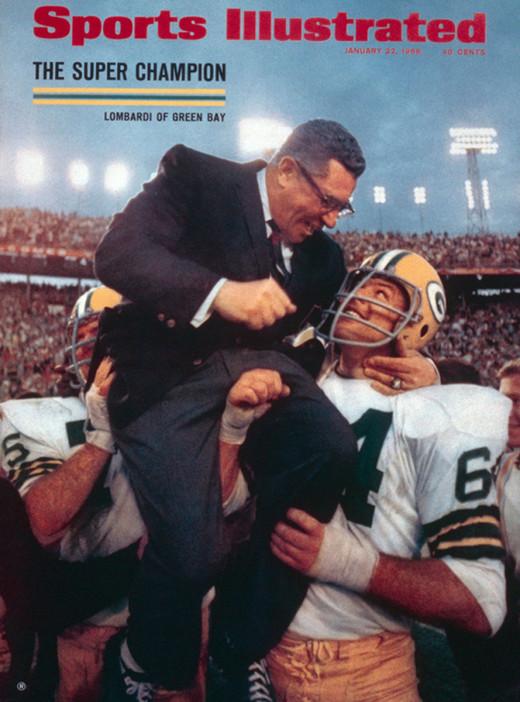 Vince Lombardi being hoisted After Winning Super Bowl I. 1968.