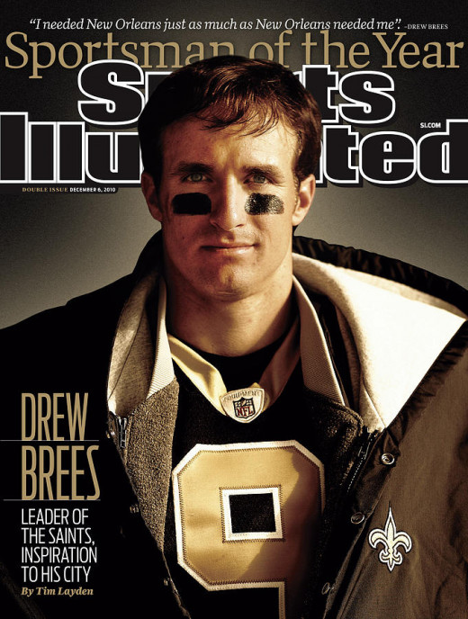 Drew Brees, voted Sportsman of the Year, 2010.