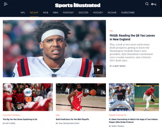 SI.com, taken on August 17th, 2020.