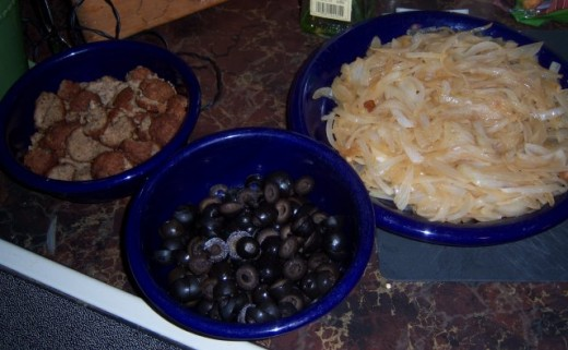 Meatballs, Olives Sliced and Sauteed Onions