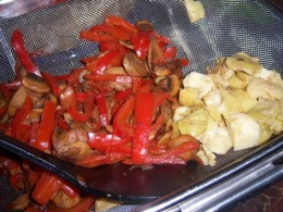 Sauteed Red Peppers, Mushrooms and Artichoke Hearts