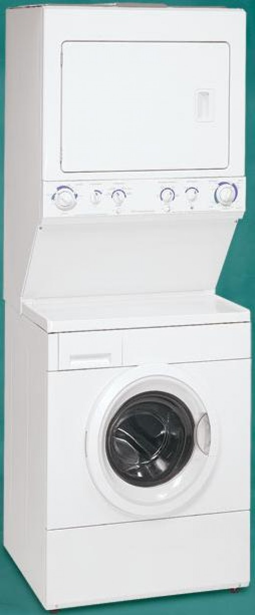 "The stackable Frigidaire GLEH1642FS Gallery Series 27"" Electric Washer and Dryer Laundry Center"