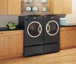 This GE Washer Dryer Combination fits perfectly into any decor.