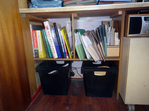 The new shelving unit under the side desk; giving plenty of height for filing on the shelf, and ample space underneath for the two waste bins.