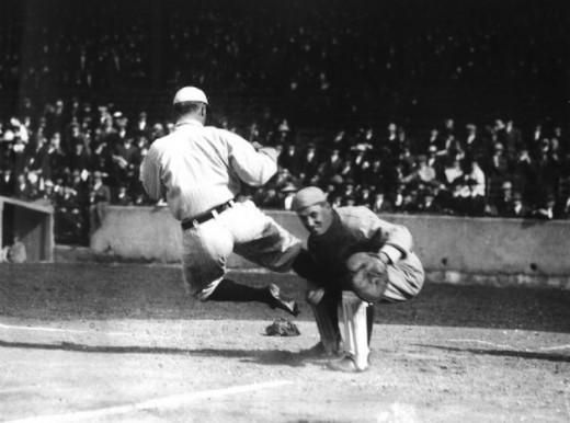 Cobb spiking an opposing catcher.