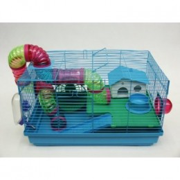 This is a great example of a compact hamster cage with many tubes for your hamster to enjoy!