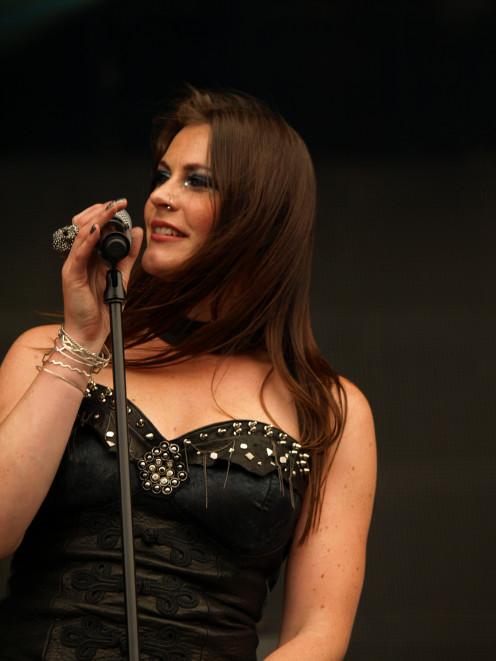 Vocalist Floor Jansen is seen here at the Tuska Open Air Festival in June 2013.