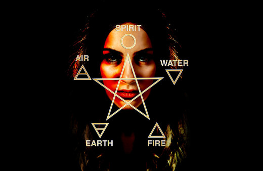 Spirit, Water, Air, Earth, and Fire text with woman's Face