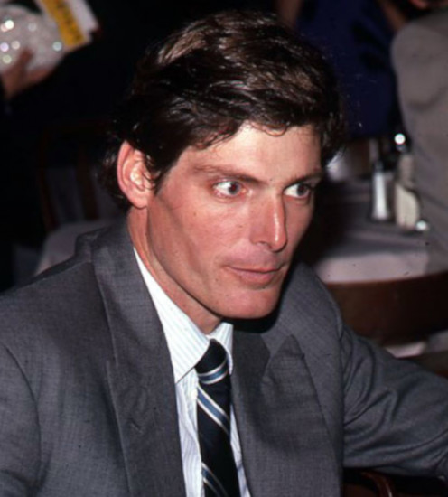 Photo to Christopher Reeve being interviewed at cast party after opening night of Marriage of Figaro at The Circle in the Square Theatre in NYC.