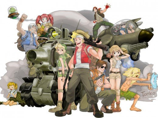 Concept artwork of the entire Metal Slug Team, taken from the Anthology.