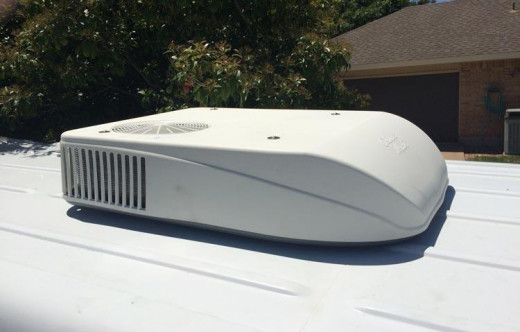 Standard RV Air Conditioner on the Roof of an RV which illustrates the size and profile.