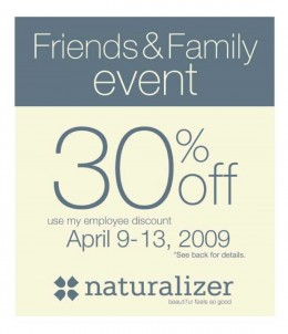 30% off Coupon for Friends and Family Event at Naturalizer.