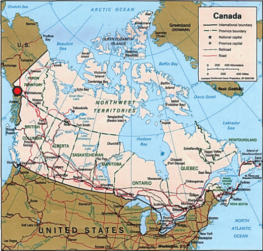 Yukon Discovery of Canadian Ice Man, Red Dot is Area of Discovery