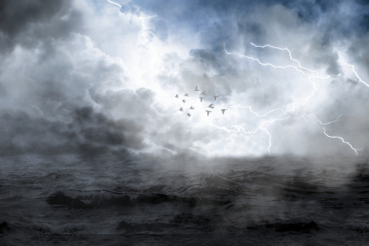 Lightening blue-storm on the seascape