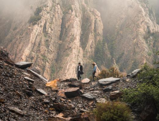 Hiking down a tall cliff