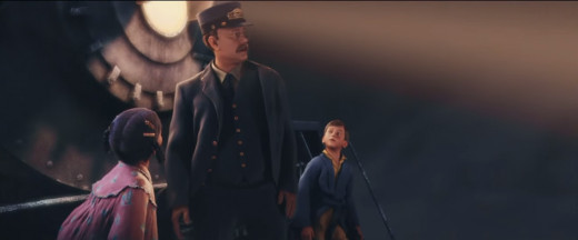 The film's use of motion capture allows the characters to mimic the appearance of the actors themselves such as Hanks (centre) as the train's guard.