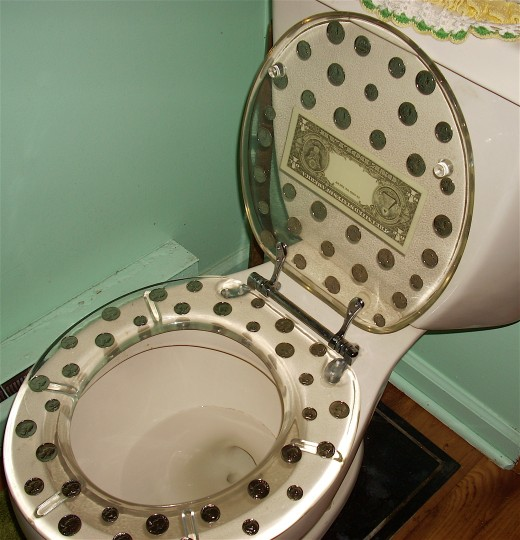 This interesting toilet seat is the focal in this couple's home