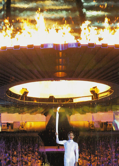 Cathy Freeman at the important moment of lighting the Olympic Flame.  A story in itself...