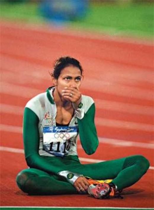 Cath Freeman minutes after the 400 metre Gold medal win